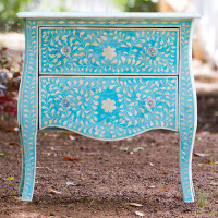 Bright turqouise side table - french provincial style - custom mixed colour for client