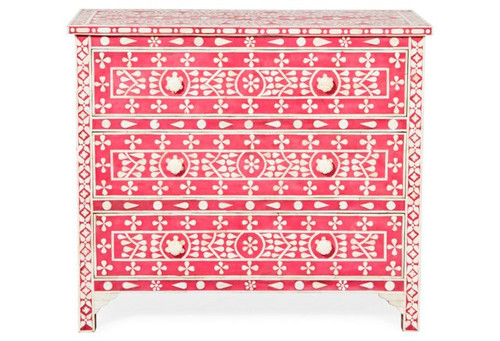 red and white circular motif-geo design chest of draws for client