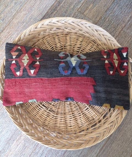 Vintage 'Pop of Indigo' Kilim Lumbar Cushion