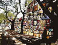 """Mozambique  The Mozambique market ArtCard features a filtered scene of colorful banners for sale at an outdoor market in Maputo, Mozambique.   Cards measure 5-1/2"""" by 4-1/4""""; blank inside.  Set includes 8 cards and envelopes for $8.00.    Photo © 2018 Tom Brown (with Photoshop enhancement)"""