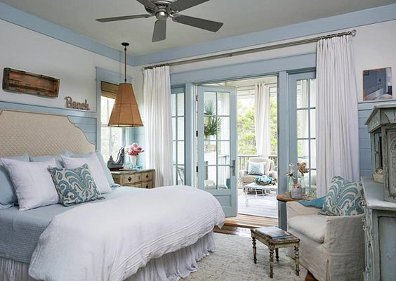 Pale Blue And White Coastal Inspired Bedroom