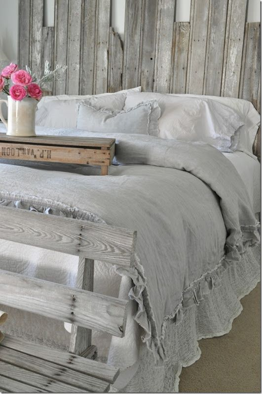 Rustic Bedroom With Grey Bedding