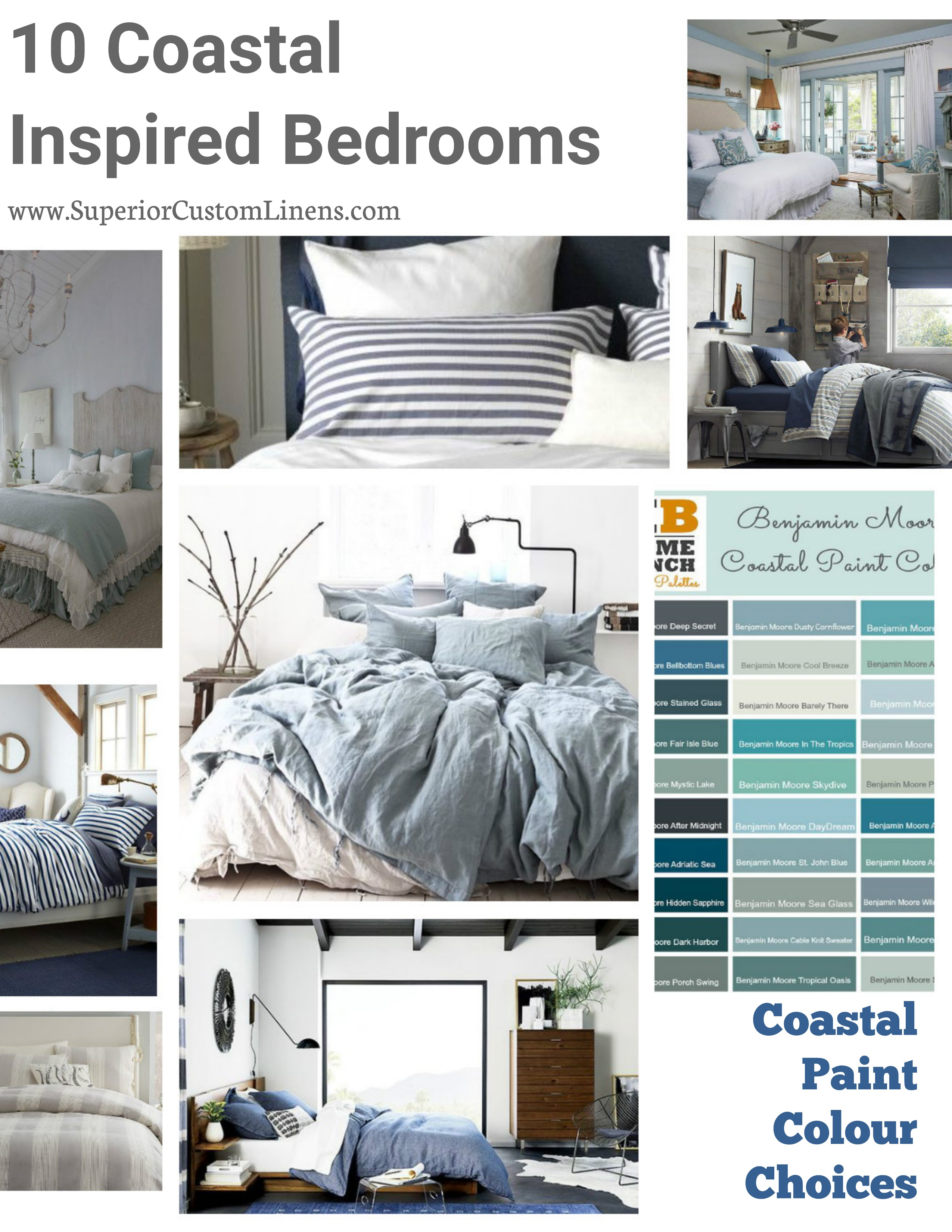10 Coastal Inspired Bedrooms With Coastal Paint Colour Choices Superior Custom Linens