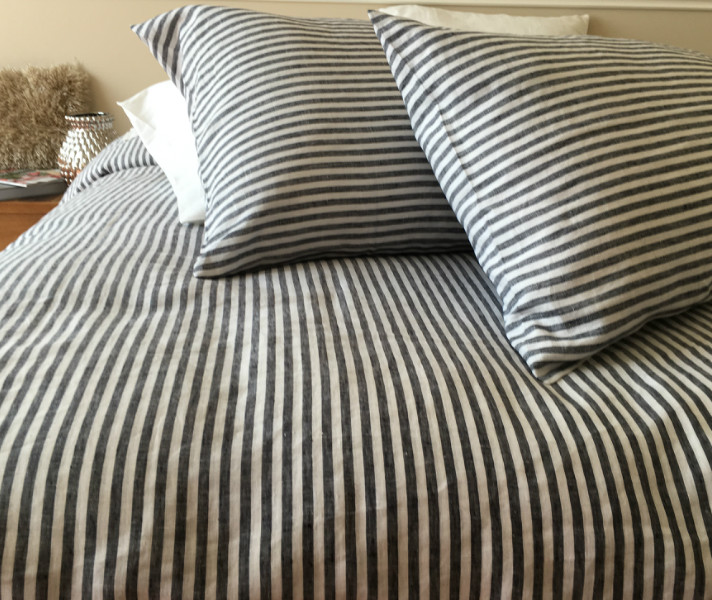 Striped Duvet Cover Handmade In Natural Linen