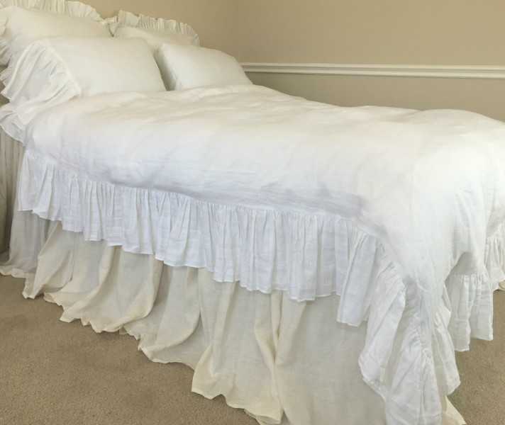 white duvet cover w mermaid long ruffles