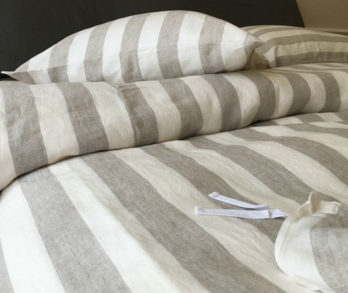 ticking striped linen bedding