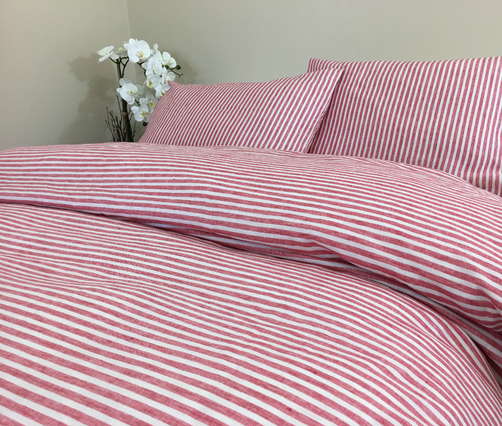 Red Ticking Stripe Duvet Cover Sweetgalas