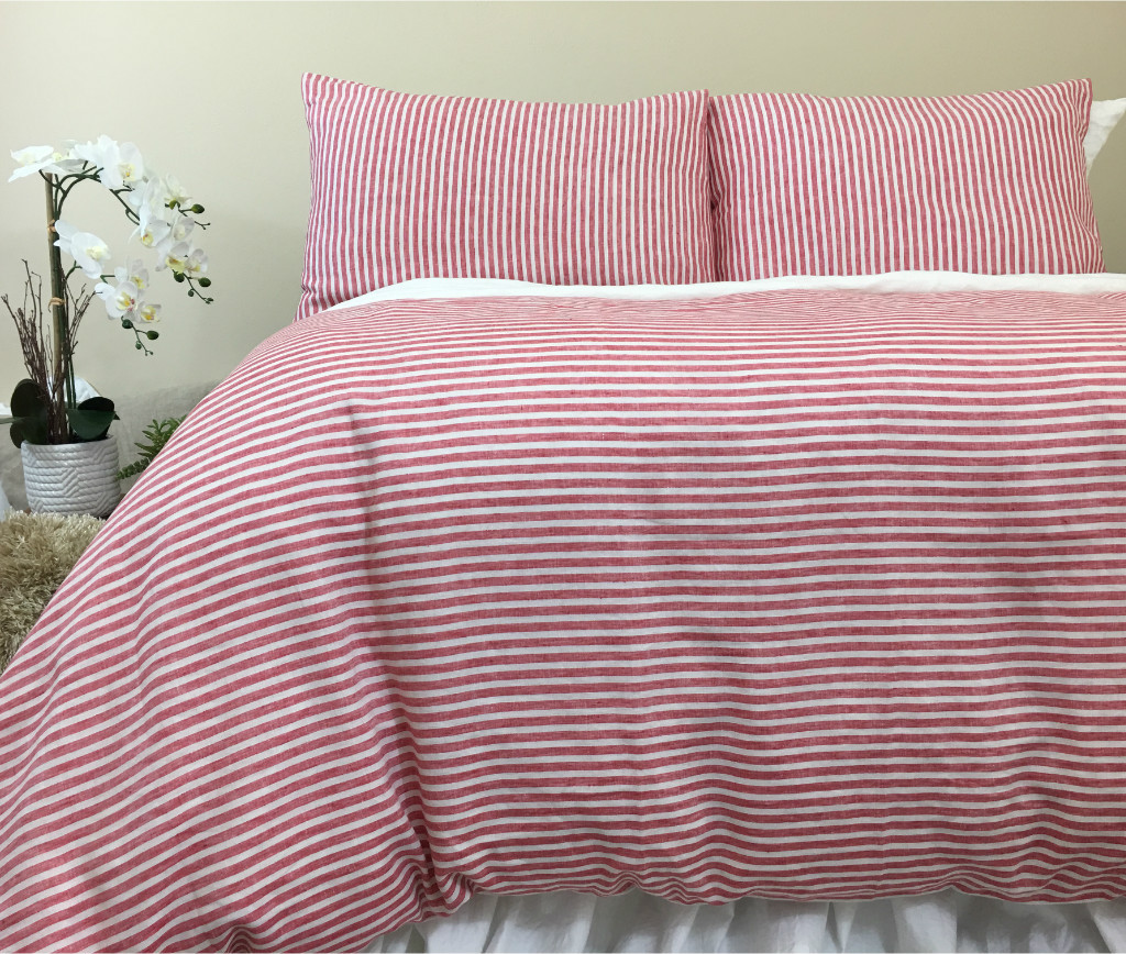 red and white striped duvet cover natural linen custom. Black Bedroom Furniture Sets. Home Design Ideas
