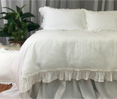 White Linen Vintage Ruffle Duvet Cover, Available in Twin, Full, Queen, King, Calif. King or Custom size