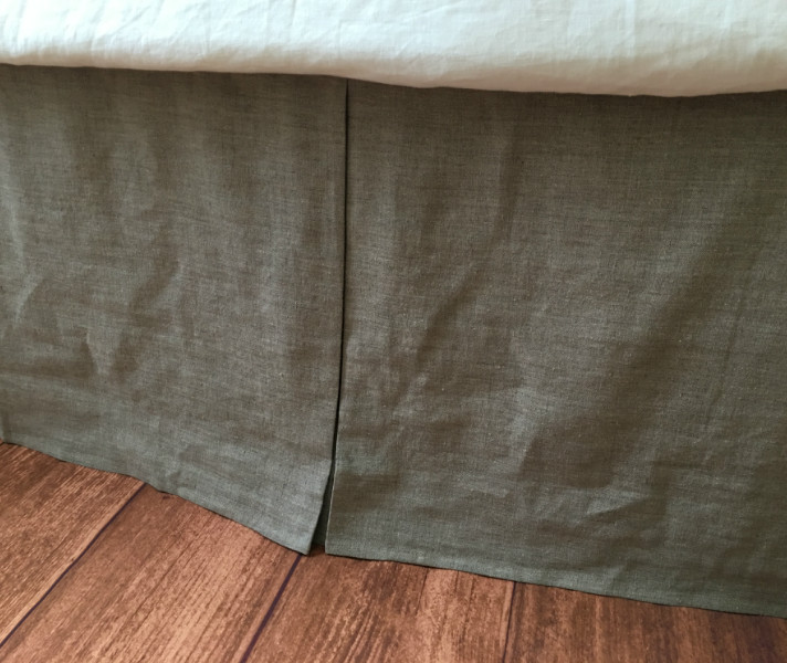 Grey Linen King Bed Skirt : Tailored bed skirt quot drop natural linen white