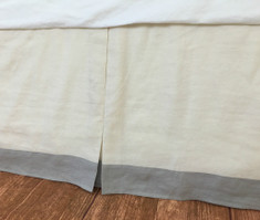 Tailored Linen Bed Skirt with Stone Grey Border
