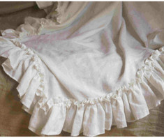 ruffle linen sheet, bed throw