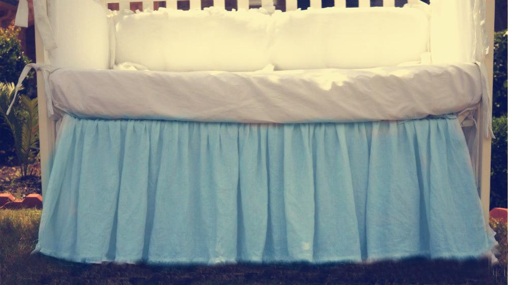 blue crib skirt gathered ruffle adjustable