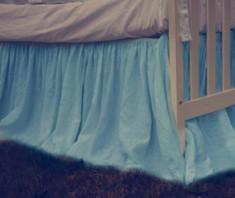 Blue crib skirt, blue baby bedding boy