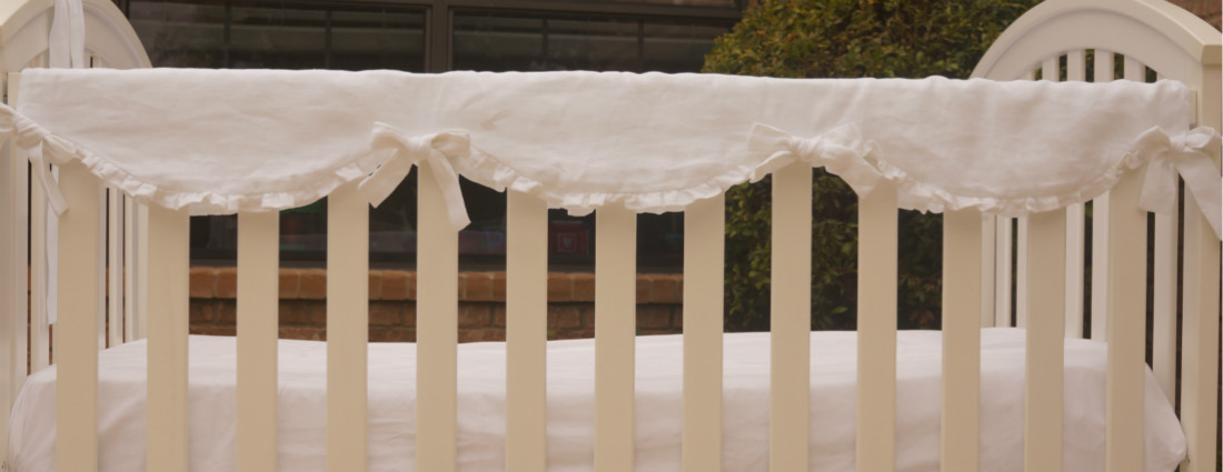 linen crib rail cover