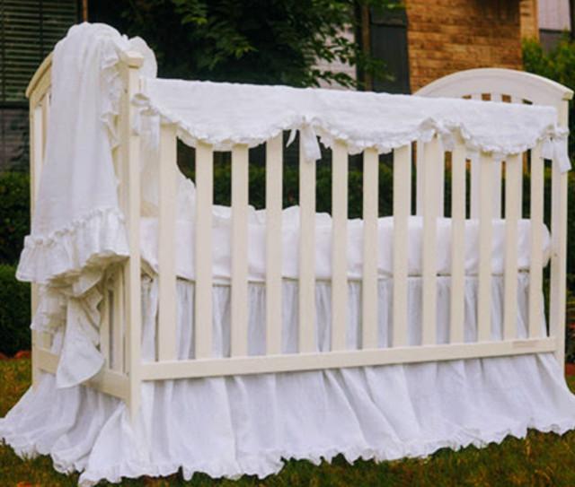 White Crib rail cover, scalloped.