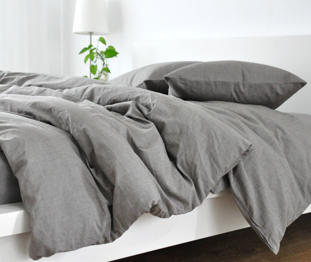 Grey duvet cover natural linen custom size queen king for Bedding fabric bedding