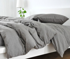 Medium Grey Linen Duvet Cover