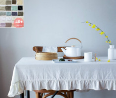 Linen Tablecloth with Ruffles, white linen