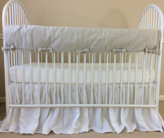 Natural Linen Rectangular Rail Cover with piping finish