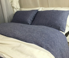 denim blue linen duvet cover set, 100% flax linen