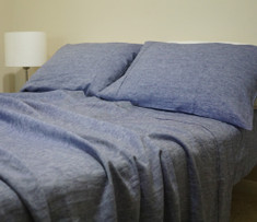 DENIM BLUE chambray bed sheets with pillow covers