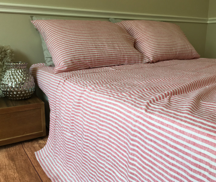 red ticking stripe sheets - Striped Sheets
