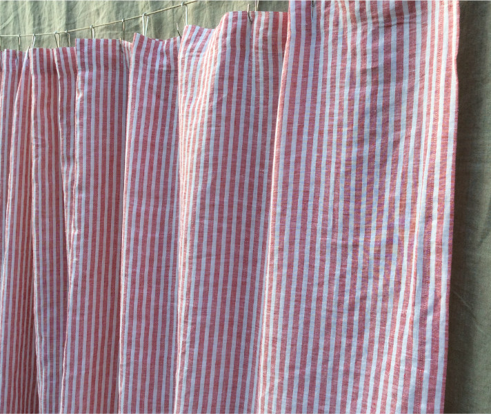White And Red Ticking Stripe Shower Curtain