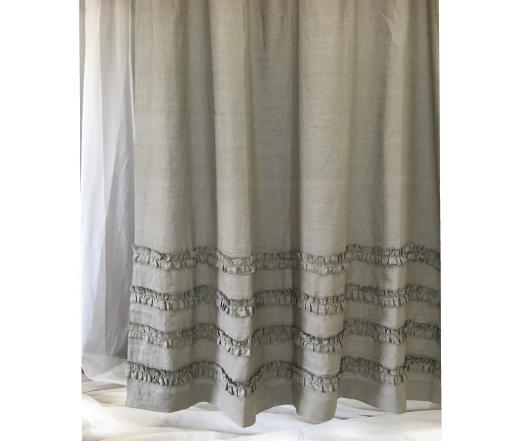 ... Grey Ruffle Shower Curtain ...