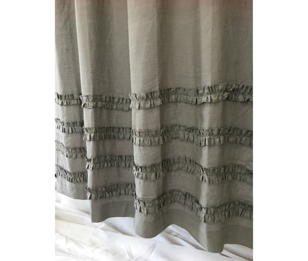 Medium Grey Linen Shower Curtains with 4 Rows of Ruffles, Dress up ...