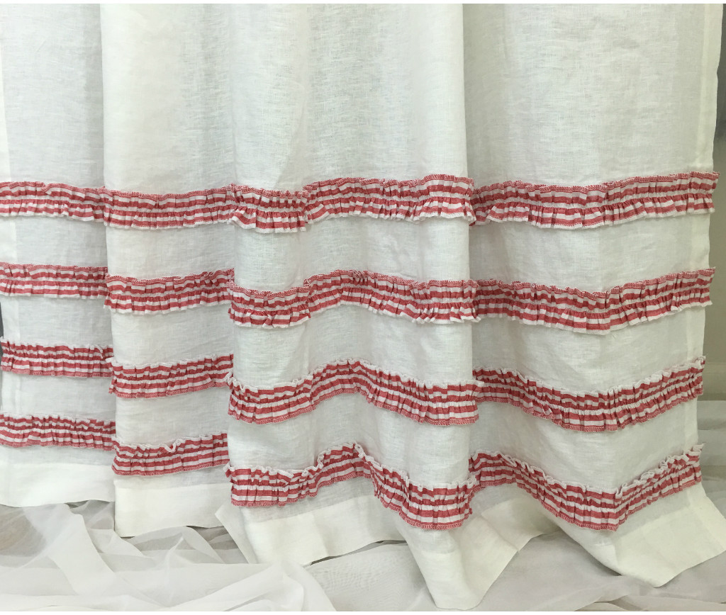 White Shower Curtain With Red Ticking Stripe Rows Of Ruffles