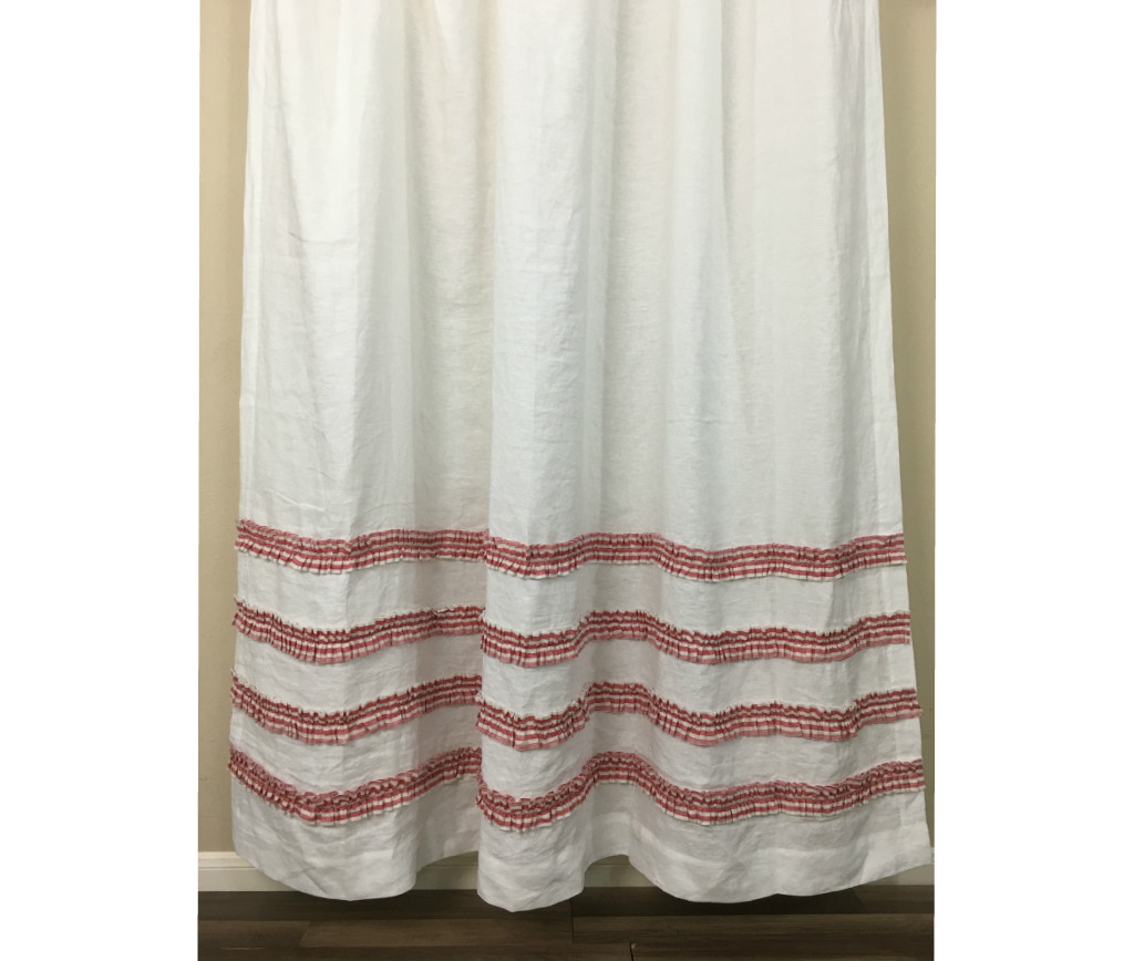 red white striped shower curtain. White Shower Curtain with Red Ticking Stripe Ruffle  Handmade by SuperiorCustomLinens Rows of Ruffles