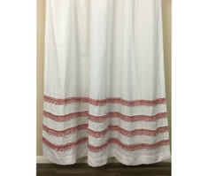 White Shower Curtain with Red Ticking Stripe Ruffle | Handmade by SuperiorCustomLinens