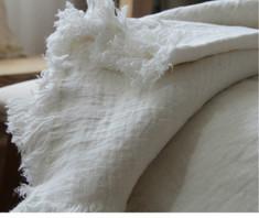 Soft White Linen Double Weave Blanket