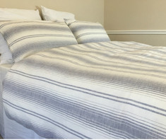 Grey white striped duvet cover made from 100% flax linen