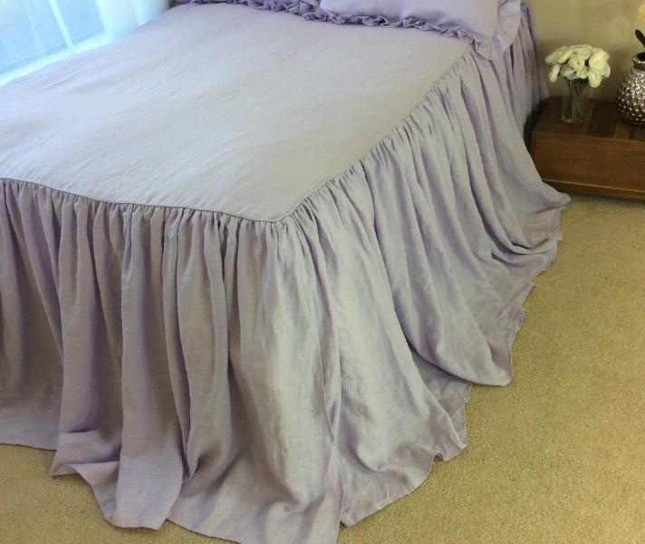 lavender purple ruffled bed cover | handcraftedsuperior custom