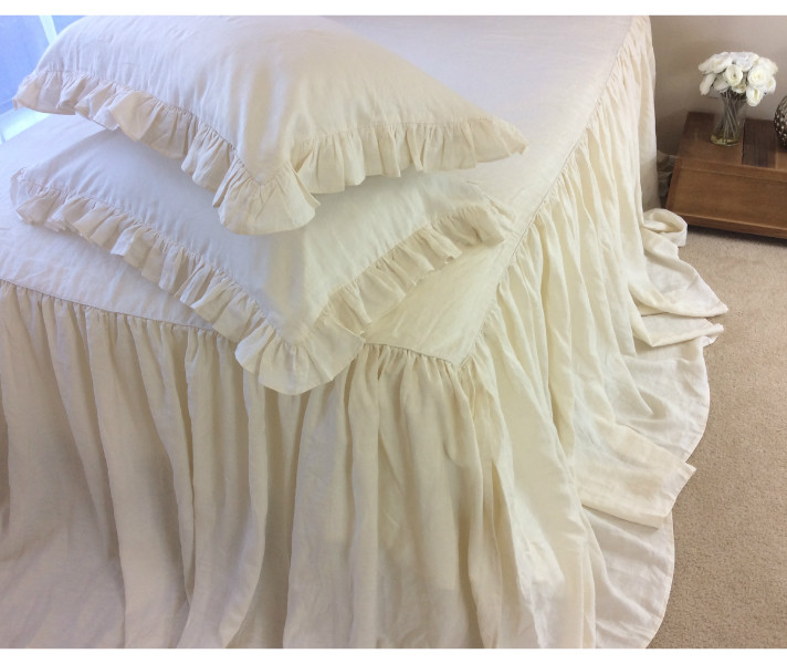 ivory cream bedspread, linen ruffled bed cover, custom size,queen
