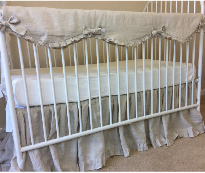 natural linen crib rail cover handcrafted by superior custom linens