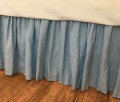 Blue Linen bed skirt   Handcrafted by Superior Custom Linens