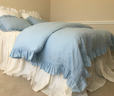 blue bedding, ruffle bedding