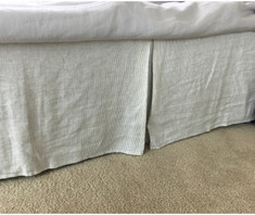 Ticking stripe bed skirt, 100% natural linen
