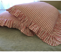 red white ticking striped duvet cover with pillow covers