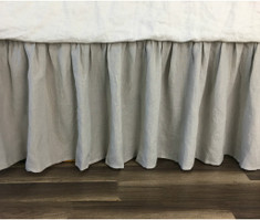 Stone Grey Gathered Linen Bed Skirt