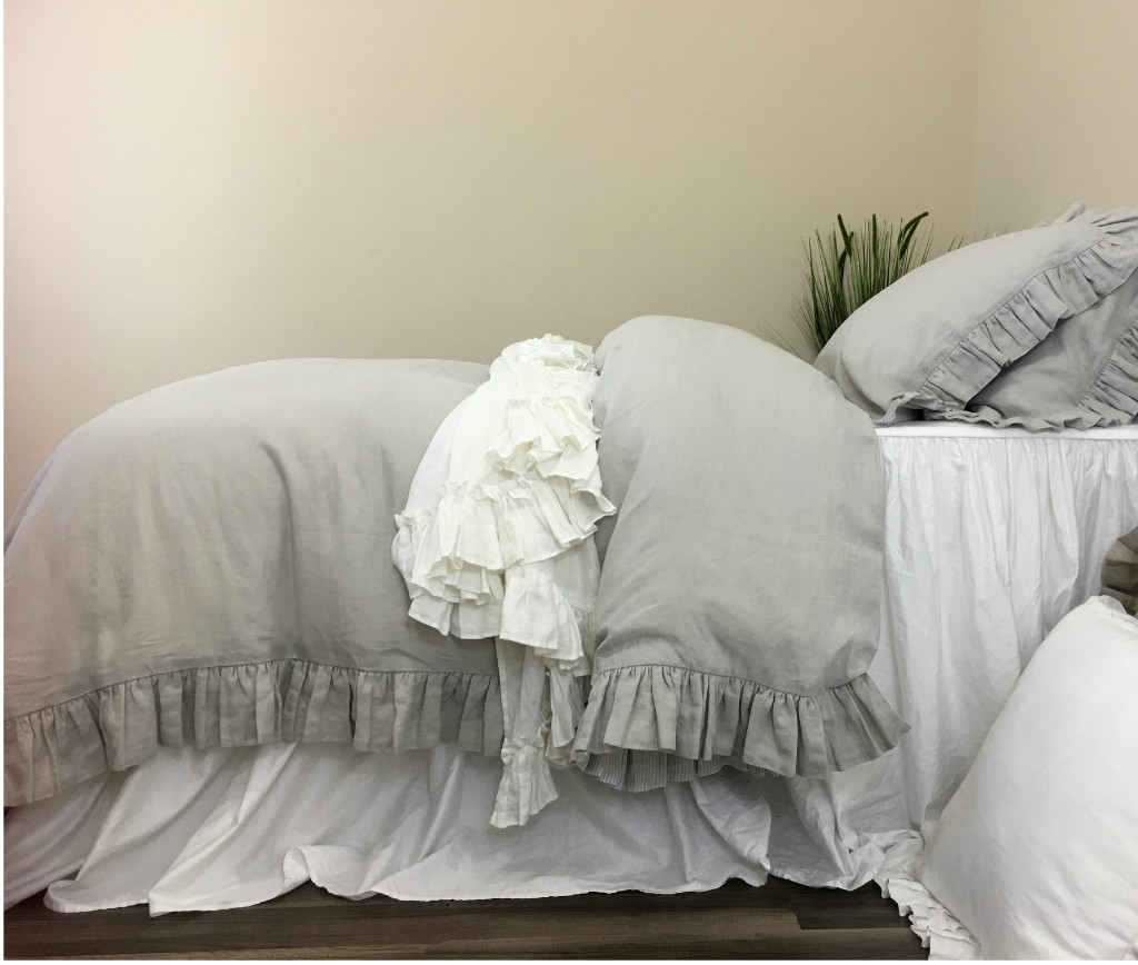 Stone Grey Ruffle Duvet Cover Handcrafted By Superior