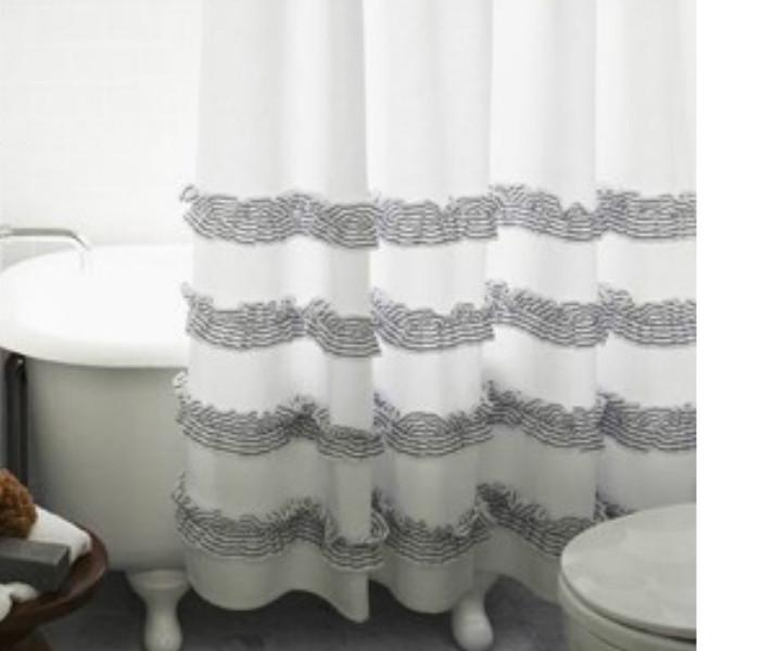 Grey Ticking Stripe Ruffle Shower Curtains