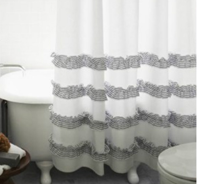 Awesome White Shower Curtain With Stone Grey Ticking Stripe Ruffle | Handmade By  SuperiorCustomLinens ...