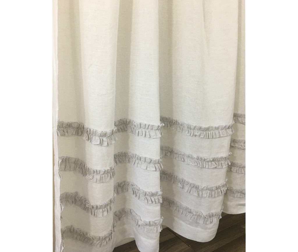 grey linen shower curtain.  Image 6 7 Grey Ticking Stripe Ruffle Shower Curtains Handcrafted by