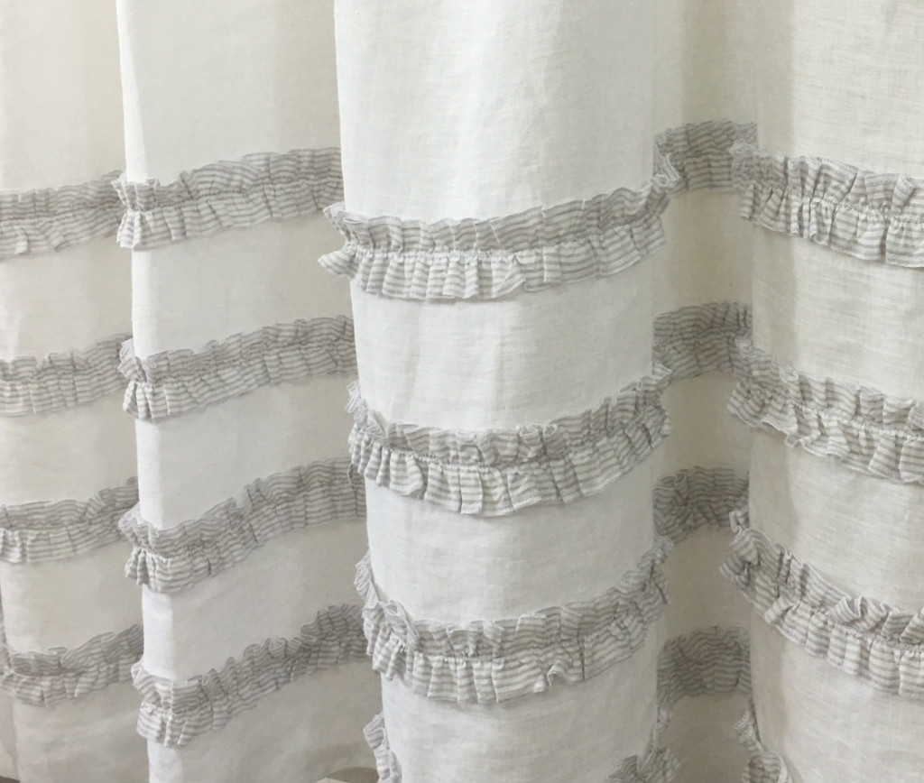 ... White Linen Shower Curtain With Grey Ticking Striped Ruffles; Shower  Curtain With 4 Rows Of Ruffles ...