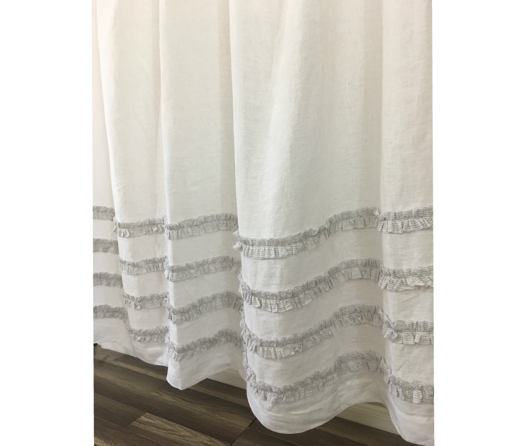 Grey Ticking Stripe Ruffle Shower Curtains Handcrafted