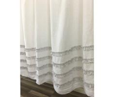 White Shower Curtain with Stone Grey Ticking Stripe Ruffle   Handmade by SuperiorCustomLinens